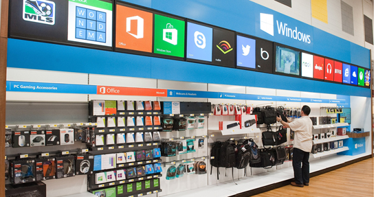 A shopper browses Windows goods. (courtesy Microsoft)